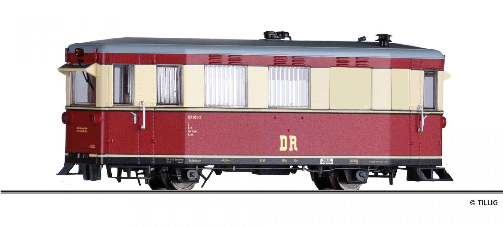 H0e Triebwagen 187 001-3, Hilfsgerätewagen, der DR, Ep.IV