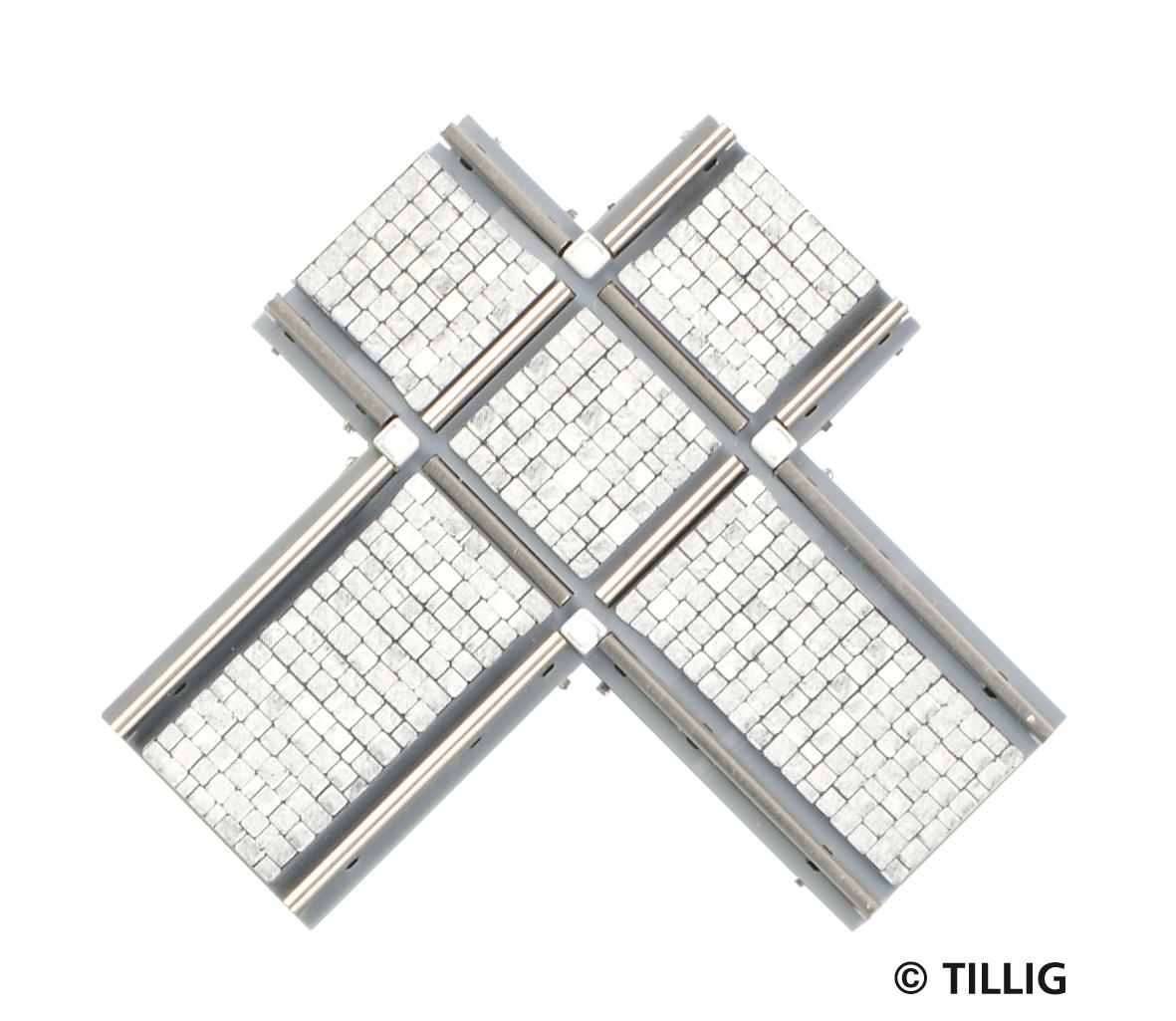 H0 Kreuzung, asymmetrisch - Pflaster