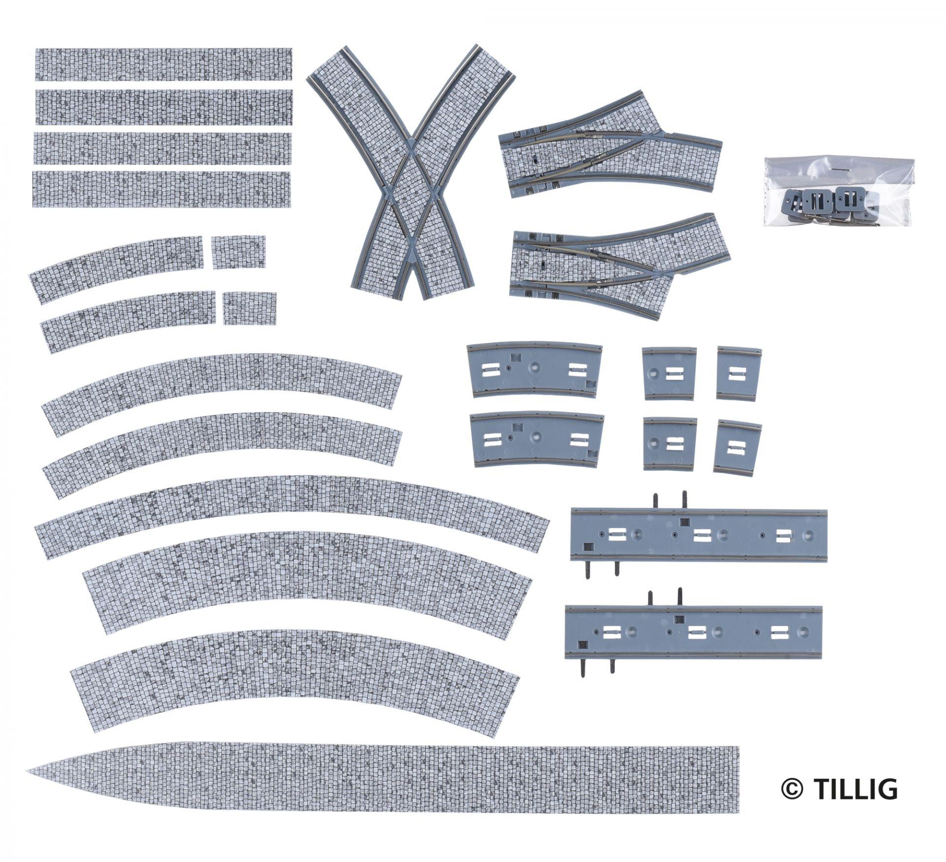 H0 Bogenkreuzung (2-spurig) Pflaster
