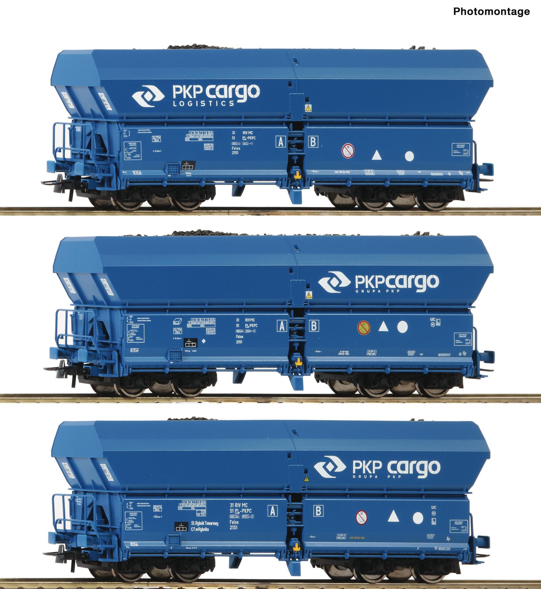 H0 3-tlg. Set Selbstentladewagen der PKP Cargo, Ep.VI