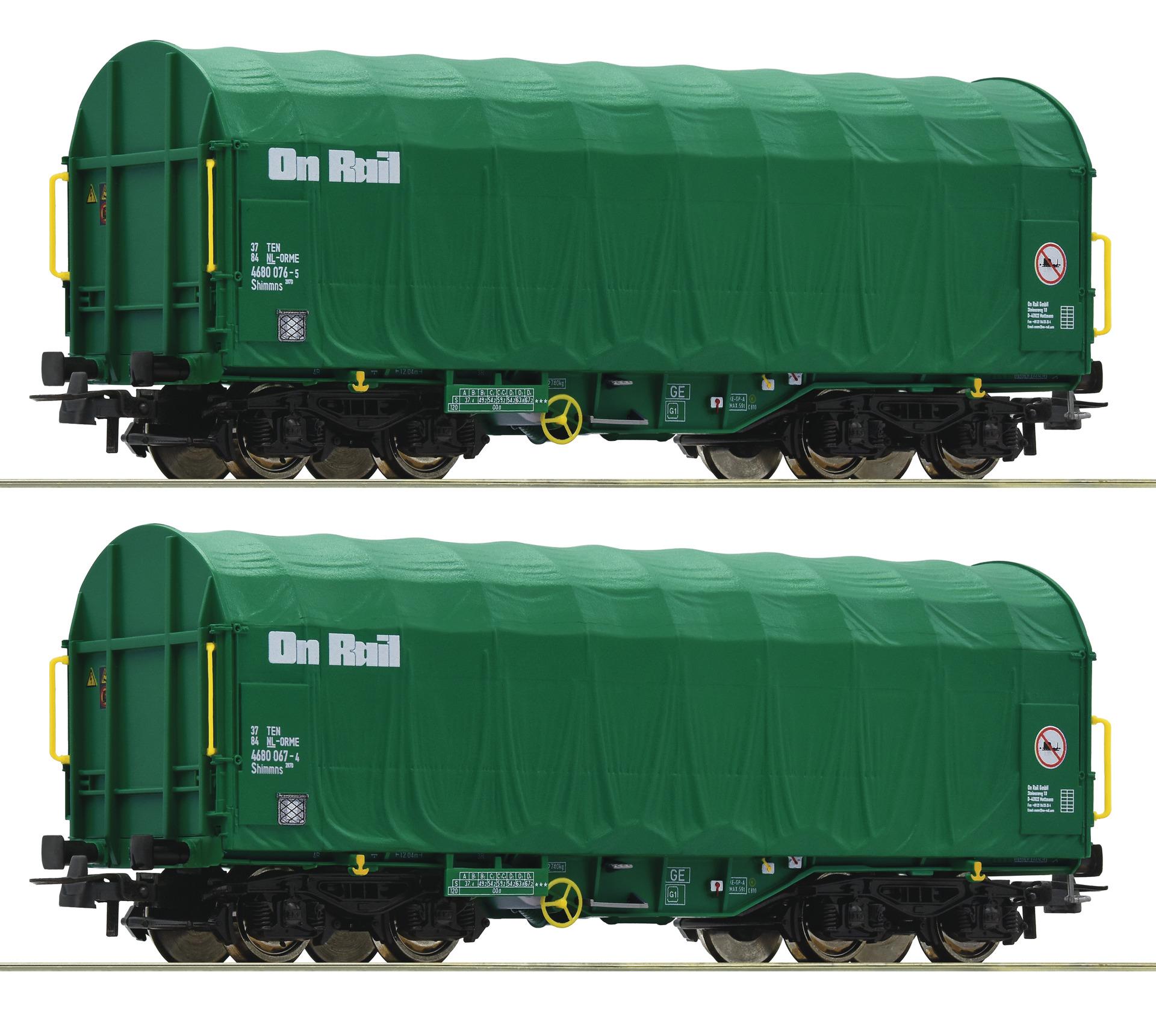 H0 2-tlg. Set Schiebeplanenwagen der On Rail, Ep.VI