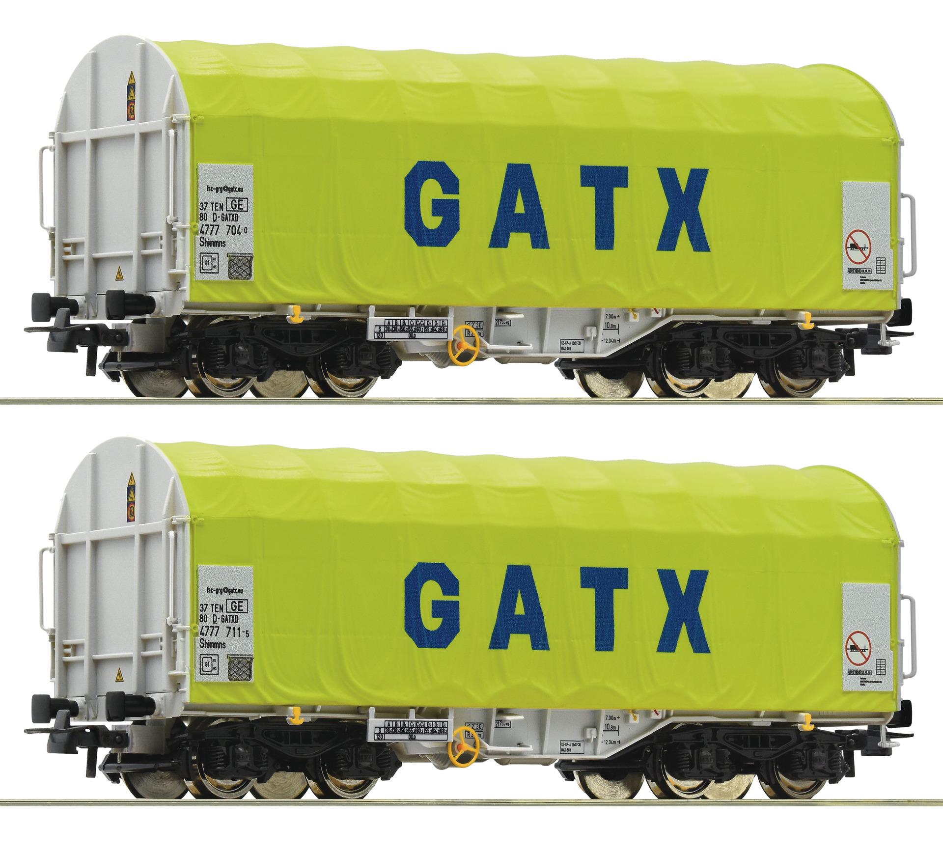 H0 2-tlg. Set Schiebeplanenwagen der GATX, Ep.VI