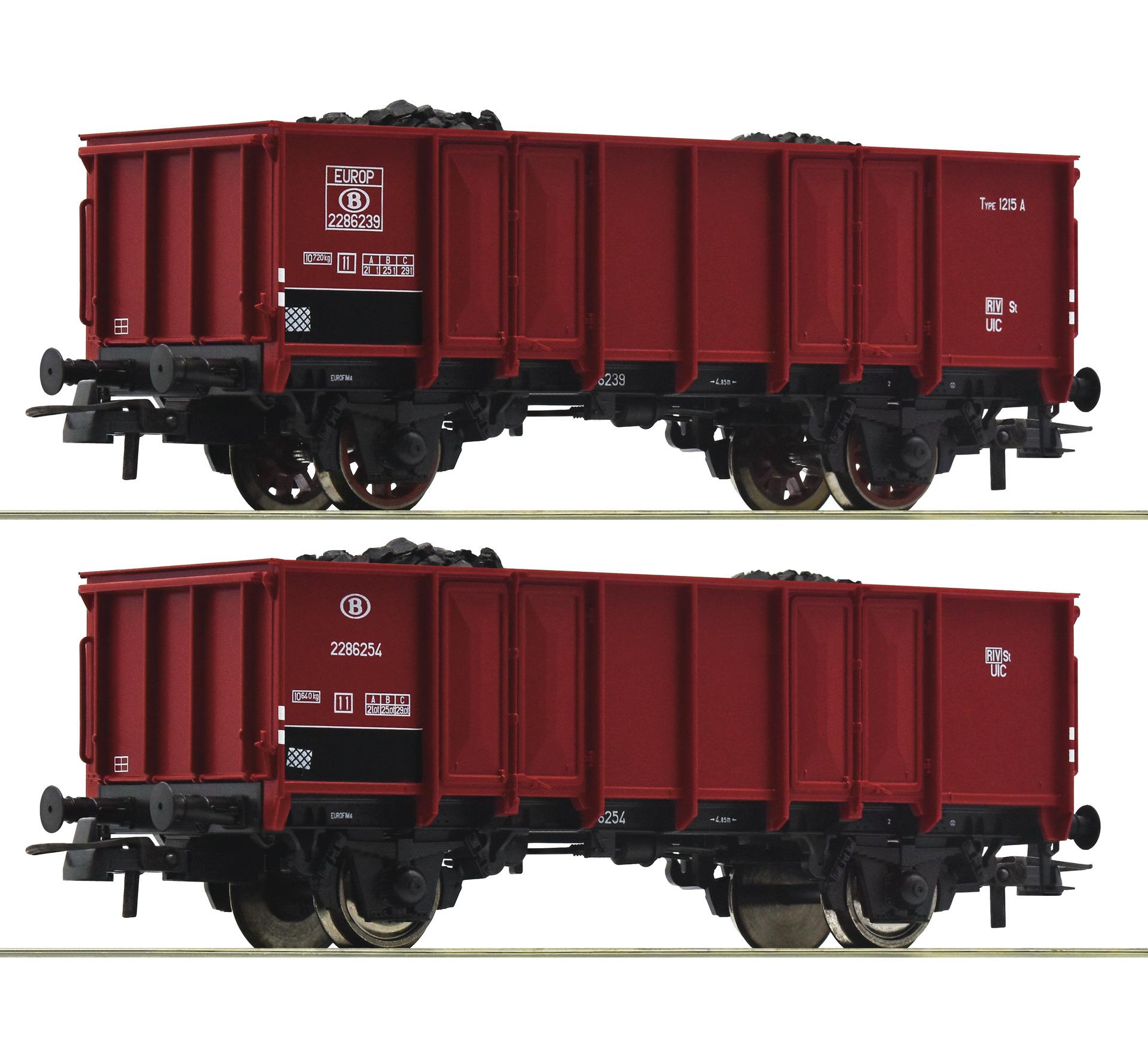H0 2-tlg. Set Offene Güterwagen der SNCB, Ep.III