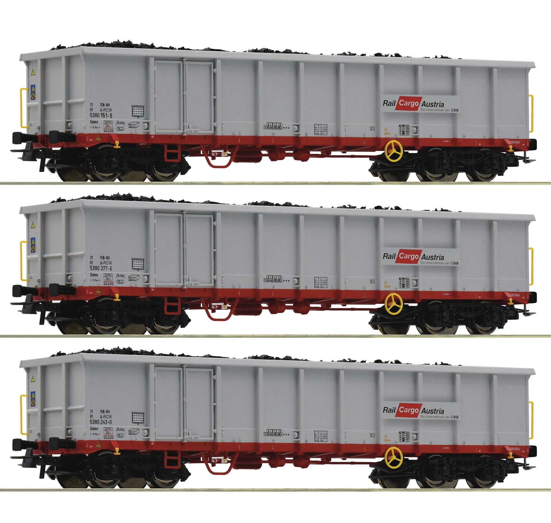 H0 3-tlg. Set Offene Güterwagen der ÖBB, Ep.VI