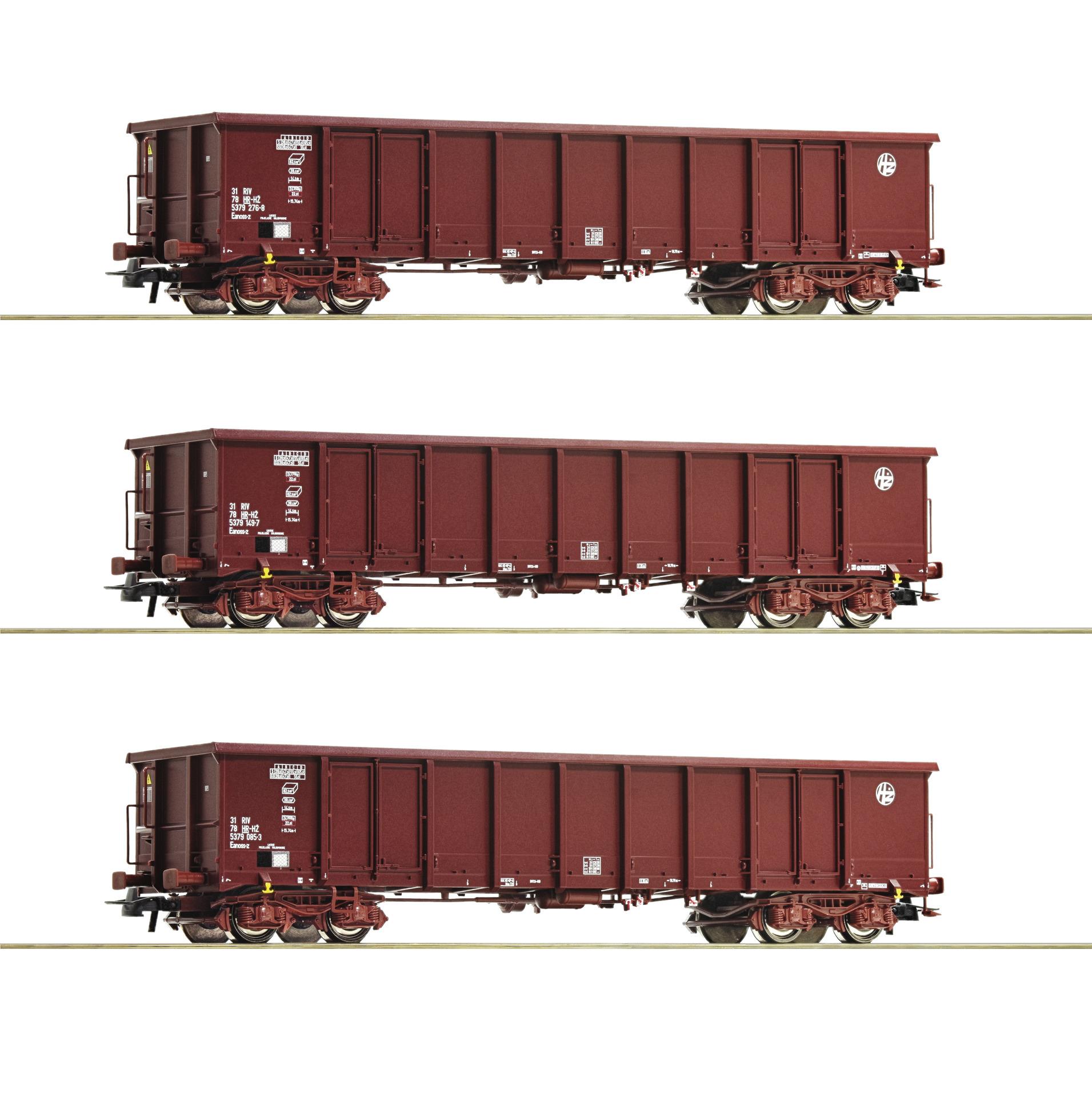 H0 3-tlg. Set Offene Güterwagen der HZ Cargo, Ep.VI