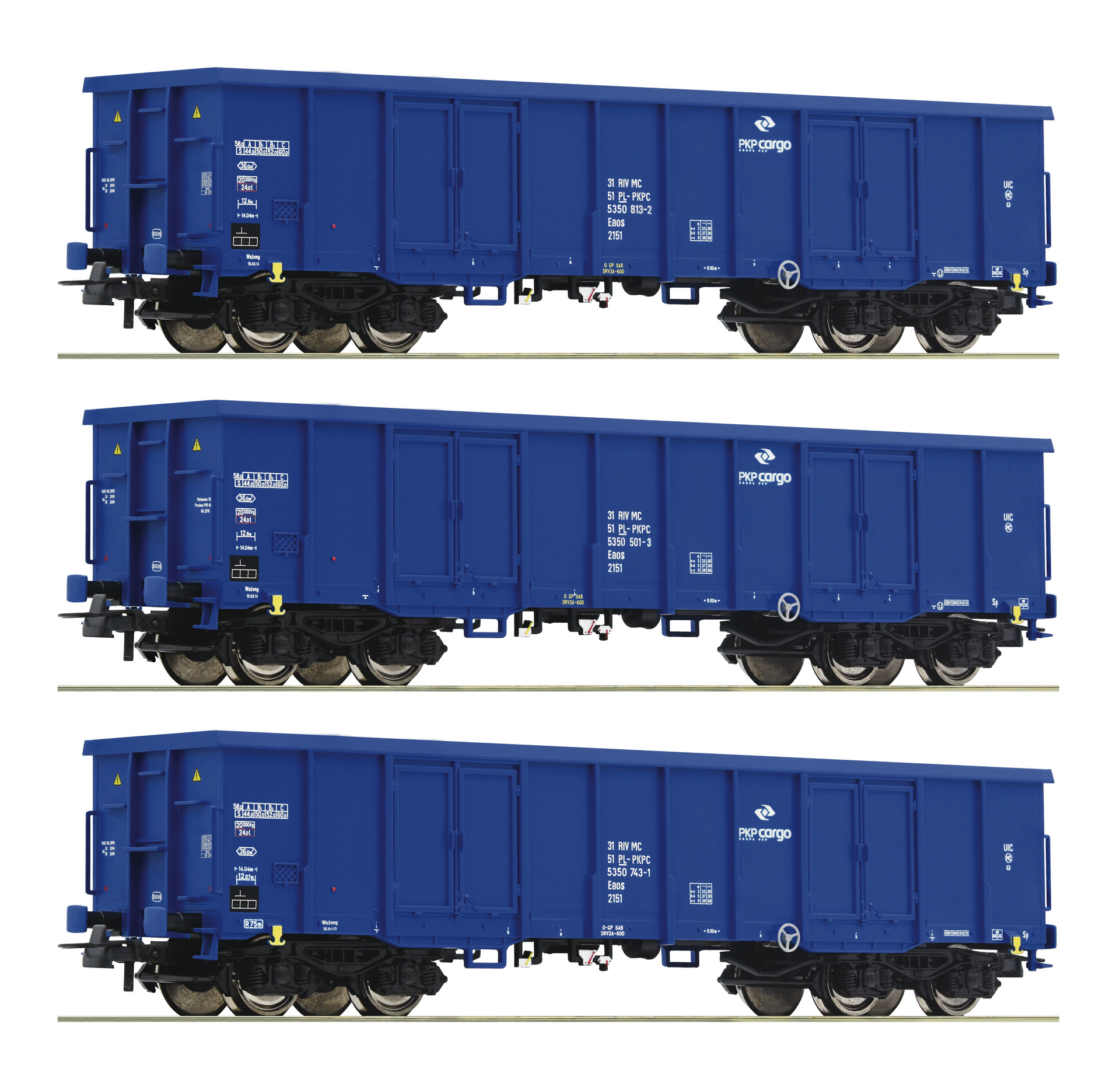 H0 3-tlg. Set Offene Güterwagen der PKP Cargo, Ep.VI