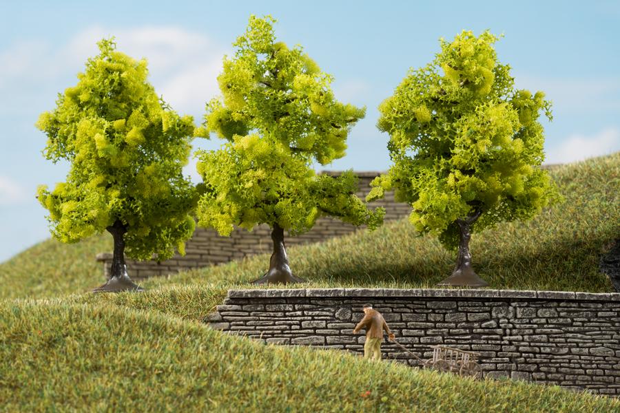 Laubbäume hellgrün - 7 cm (3 Stück)