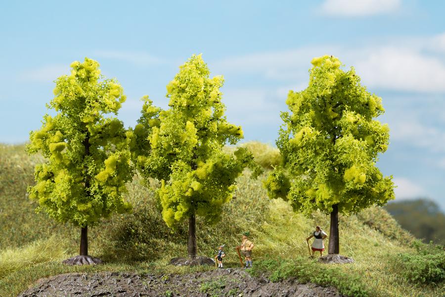 Laubbäume hellgrün - 11 cm (3 Stück)