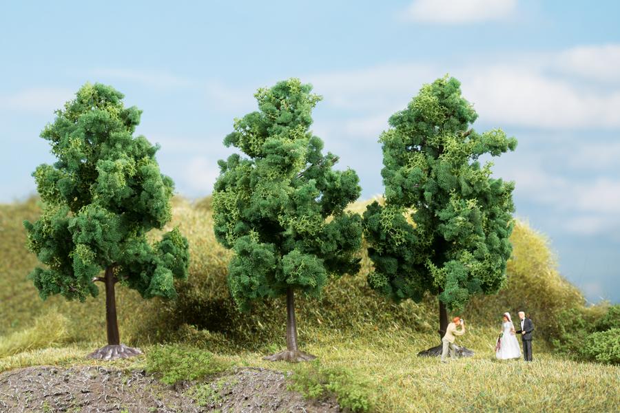 Laubbäume dunkelgrün - 11 cm (3 Stück)
