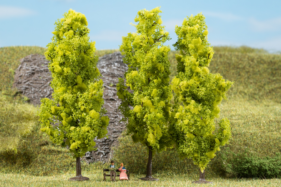 Laubbäume hellgrün - 15 cm (3 Stück)