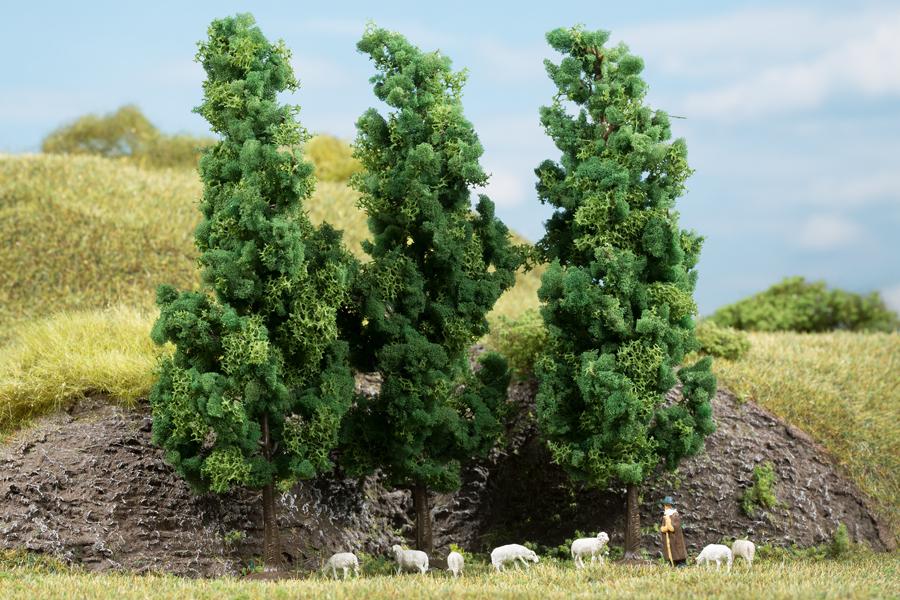 Laubbäume dunkelgrün - 15 cm (3 Stück)